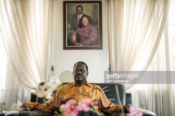 Kenya's opposition leader Raila Odinga of the opposition National Super Alliance coalition speaks to AFP at his home before attending the funeral...