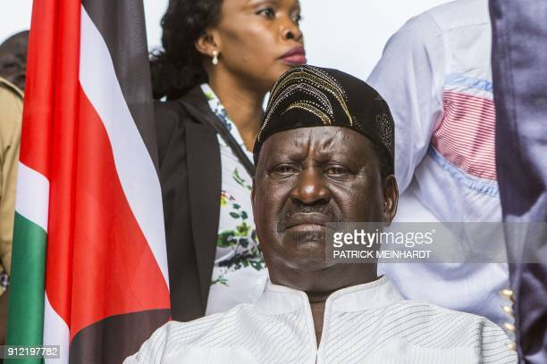 Kenya's opposition National Super Alliance coalition leader Raila Odinga looks on before swearingin himself as the 'people's president' on January 30...
