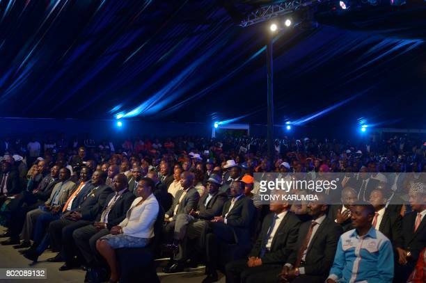 Kenya's opposition party National Super Alliance presidential nominee Raila Odinga attends a rally in the Kenyan capital Nairobi on June 27 2017...