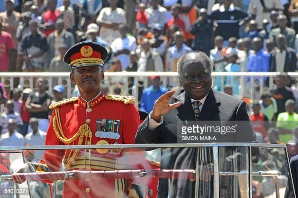 Kenya's President Mwai Kibaki arrives at the Nyayo National Stadium in Nairobi on December 12 2008 for Jamhuri day the celebration of 45 years of...