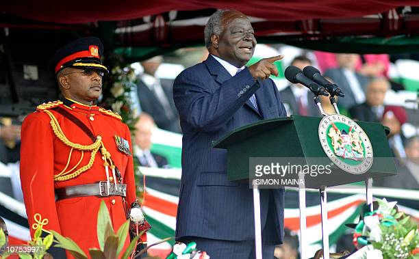 Kenya's president Mwai Kibaki delivers a speech during commemorations of Kenya's 47th Independence anniversary on December 12 2010 at the Nyayo...