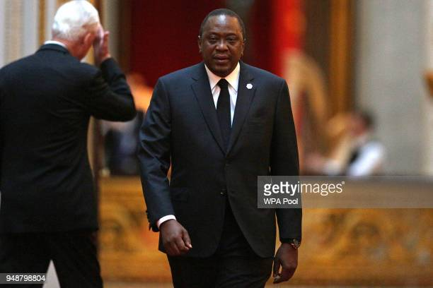 Kenya's President Uhuru Kenyatta arrives arrives to attend The Queen's Dinner during The Commonwealth Heads of Government Meeting at Buckingham...