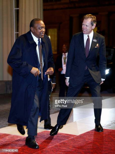 Kenya's President Uhuru Kenyatta arrives as Prince William, Duke of Cambridge and Catherine, Duchess of Cambridge host a reception to mark the...