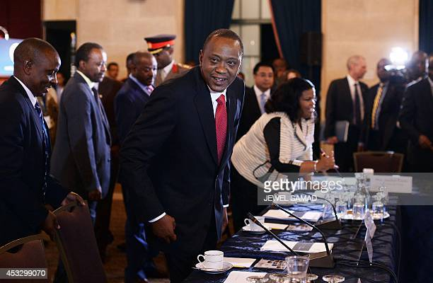 Kenya's President Uhuru Kenyatta arrives for a roundtable discussion with American and African business leaders at the US Chamber of Commerce in...