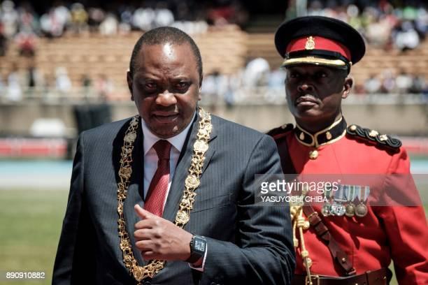 Kenya's president Uhuru Kenyatta attends the Independence Day ceremony called Jamhuri Day at Kasarani stadium in Nairobi Kenya on December 12 2017 /...