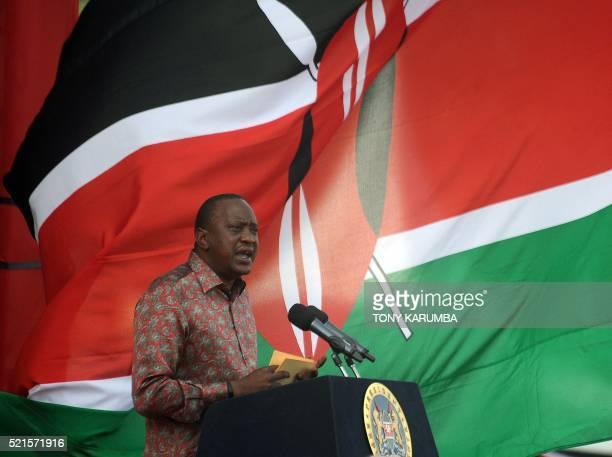 Kenya's President Uhuru Kenyatta delivers a speech during an interreligious event at the Afraha stadium in Nakuru on April 16 2016 President Uhuru...