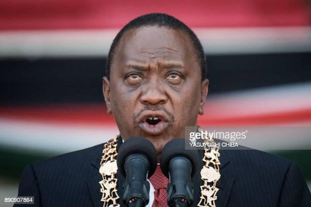 Kenya's president Uhuru Kenyatta delivers a speech during the Independence Day ceremony called Jamhuri Day at Kasarani stadium in Nairobi Kenya on...