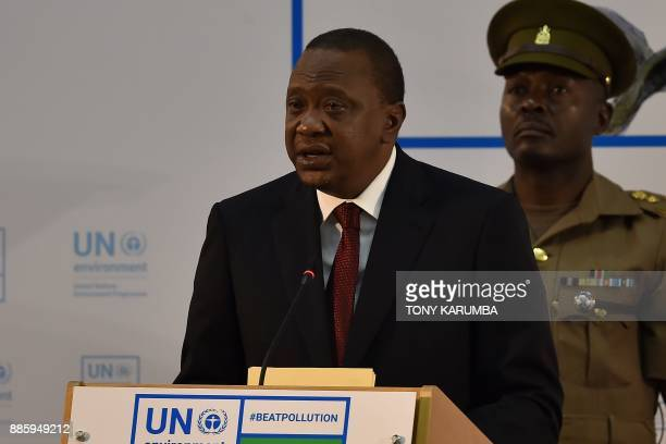 Kenya's President Uhuru Kenyatta gives an address at the official opening of the United Nations Environment Assembly at the UN headquarters on...