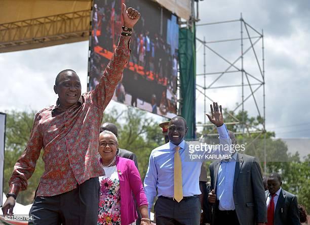 Kenya's President Uhuru Kenyatta his wife Margaret and Deputy president William Ruto arrive for an interreligious ceremony thanks giving ceremony at...