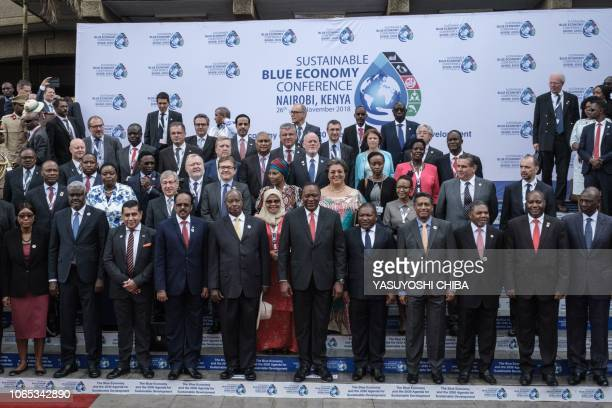 Kenya's President Uhuru Kenyatta poses with Heads of States during the Sustainable Blue Economy Conference at KICC in Nairobi Kenya on November 26...