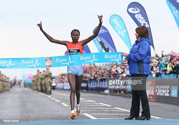Kenya's Priscah Jeptoo wins the women's race in the Great North Run half marathon in South Shields, near Newcastle in northeast England on September...