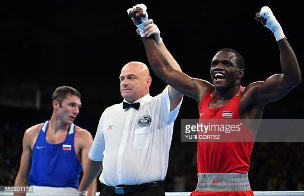 TOPSHOT Kenya's Rayton Nduku Okwiri celebrates winning against Russia's Andrei Zamkovoi during the Men's Welter boxing match at the Rio 2016 Olympic...