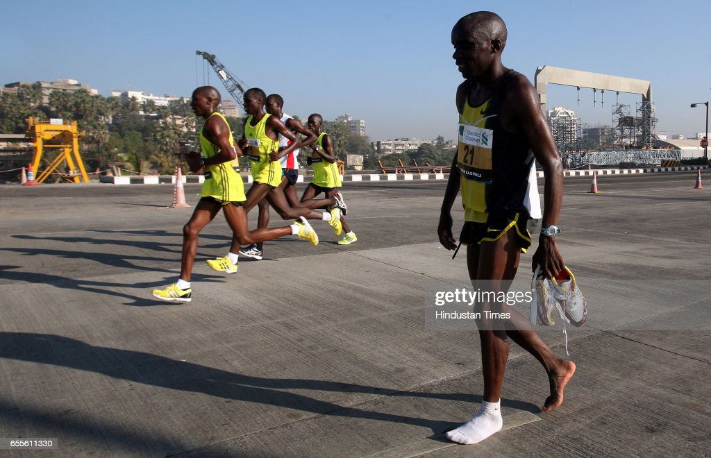 Kenyas Saimon Kasimili had to stop his run near Bandra Worli Sea Link after suffering discomfort and wound to his feet, which he later said was because of cheap shoes.