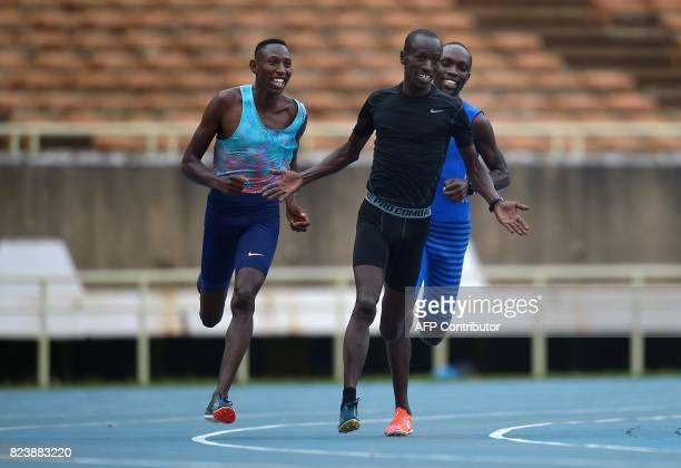 Kenya's steeplechasers Ezekiel Kemboi four time world champion Conseslus Kipruto Olympic gold medalist and Jairus Birech 2016 Diamond league champion...