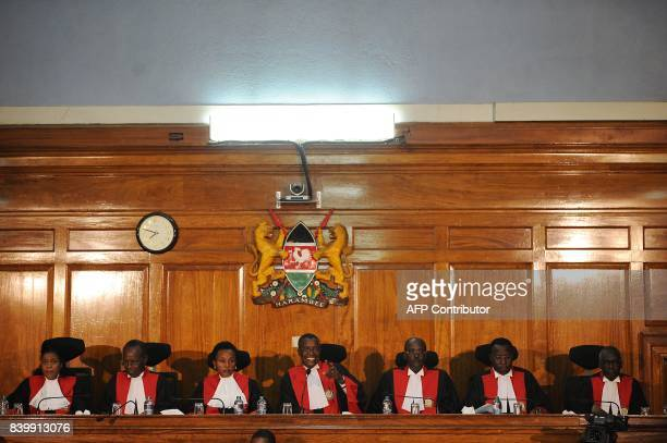 Kenya's Supreme Court judges led by Chief Justice David Maraga attend the start of proceedings on August 27 2017 in Nairobi as the Supreme Court...