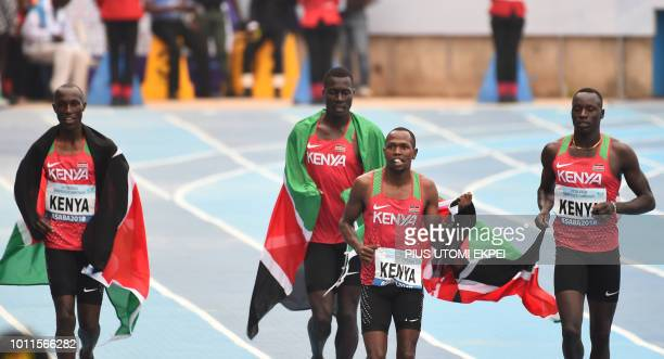 Kenya's team celebrate winning the men's 4x400m relay of the African Athletics Championships at the Stephen Keshi Stadium in Asaba Delta State in...