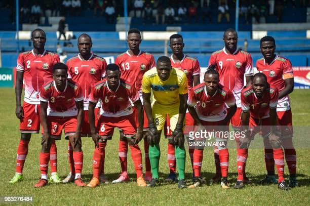 Kenya's team lines up before their friendly football match Kenya vs Equatorial Guinea in Machakos Kenya on May 28 2018
