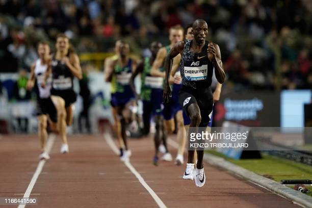 Kenya's Timothy Cheruiyot reacts as he crosses the finish line the Men's 1500m race during the IAAF Diamond League competition on September 6, 2019...