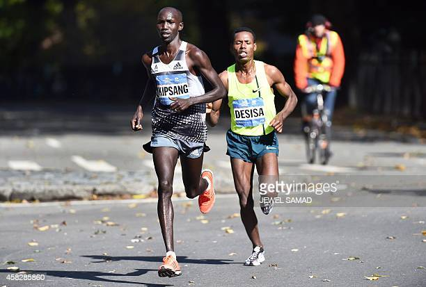 Kenya's Wilson Kipsang and Ethiopia's Lelisa Desisa run in the New York City Marathon on November 2 2014 Kipsang won the New York City Marathon men's...