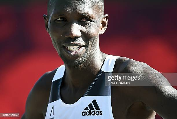 Kenya's Wilson Kipsang reacts at the finish line of the New York City Marathon on November 2 2014 Kipsang won the New York City Marathon men's title...