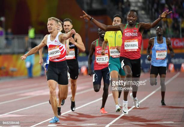 Kenyas Wycliffe Kinyamal wins in front of Englands Kyle Langford in the athletics men's 800m final during the 2018 Gold Coast Commonwealth Games at...
