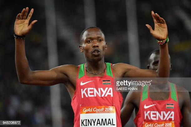 Kenyas Wycliffe Kinyamal wins the athletics men's 800m final during the 2018 Gold Coast Commonwealth Games at the Carrara Stadium on the Gold Coast...