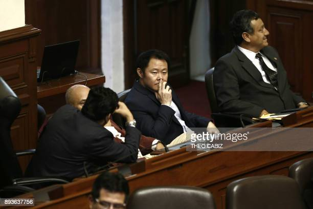 Kenyi Fujimori is photographed in the Peruvian Congress in Lima on December 15 as the presidency of Pedro Pablo Kuczynski hangs in the balance while...