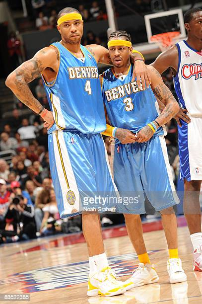 Kenyon Martin and Allen Iverson of the Denver Nuggets stand together during their game against the Los Angeles Clippers at Staples Center on October...