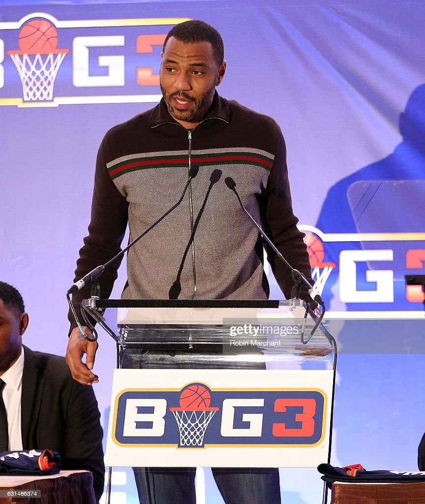 Kenyon Martin attends BIG3 Press Conference on January 11, 2017 in New York City.