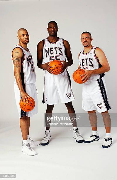 Kenyon Martin Dikembe Mutombo and Jason Kidd of the New Jersey Nets pose for a portrait during the Nets Media Day on September 30 2002 at Continental...
