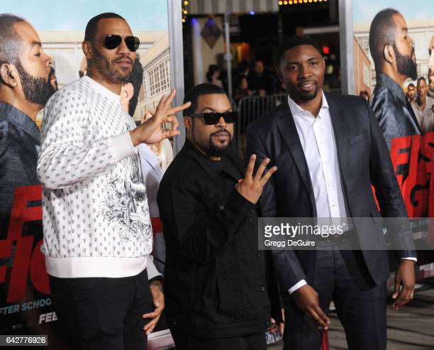 Kenyon Martin Ice Cube and guest arrive at the premiere of Warner Bros Pictures' 'Fist Fight' at Regency Village Theatre on February 13 2017 in...