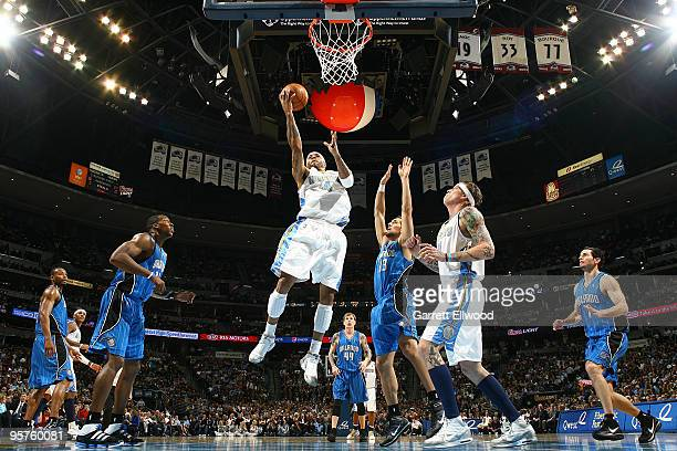 Kenyon Martin of the Denver Nuggets goes to the basket against the Orlando Magic on January 13 2010 at the Pepsi Center in Denver Colorado NOTE TO...