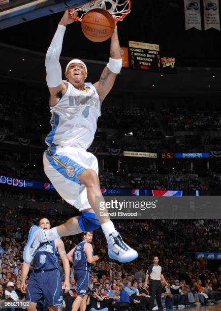 Kenyon Martin of the Denver Nuggets goes to the basket against the Utah Jazz in Game One of the Western Conference Quarterfinals during the 2010 NBA...