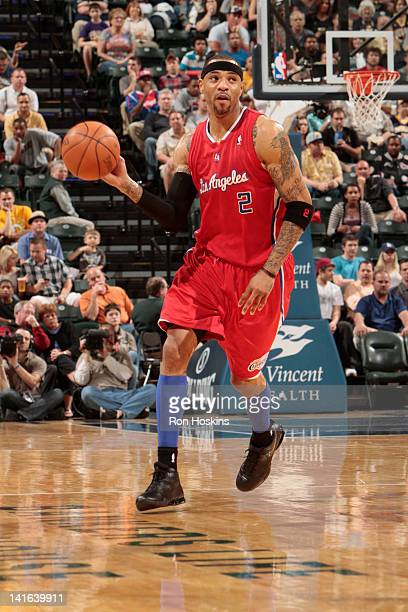 Kenyon Martin of the Los Angeles Clippers brings the ball up court during the game between the Indiana Pacers and the Los Angeles Clippers on March...
