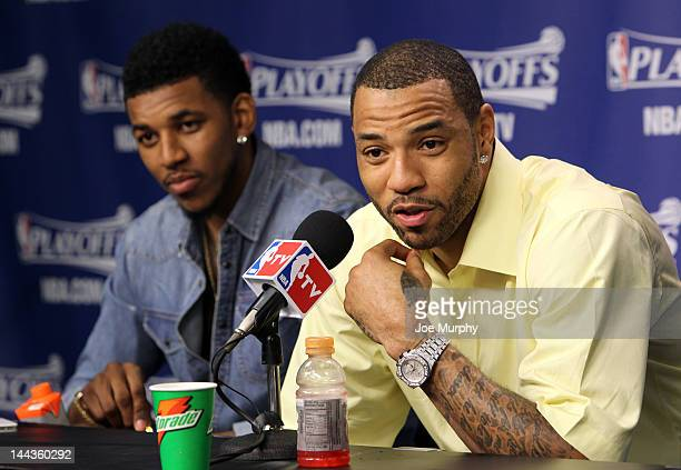 Kenyon Martin of the Los Angeles Clippers speaks to the media after his team defeated the Memphis Grizzlies in Game Seven of the Western Conference...