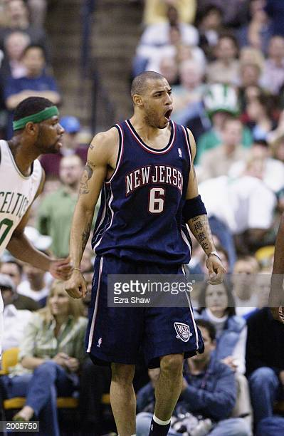 Kenyon Martin of the New Jersey Nets yells in Game four of Eastern Conference Semifinals against the Boston Celtics during the 2003 NBA Playoffs at...