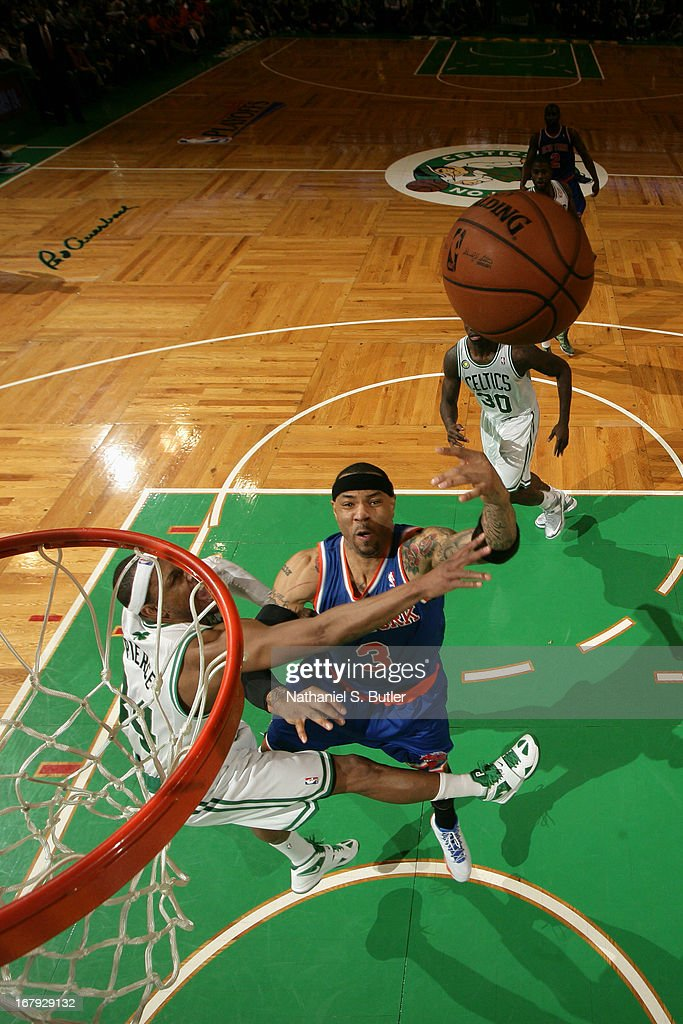 Kenyon Martin #3 of the New York Knicks drives to the basket against the Boston Celtics in Game Three of the Eastern Conference Quarterfinals during the 2013 NBA Playoffs on April 26, 2013 at the TD Garden in Boston.