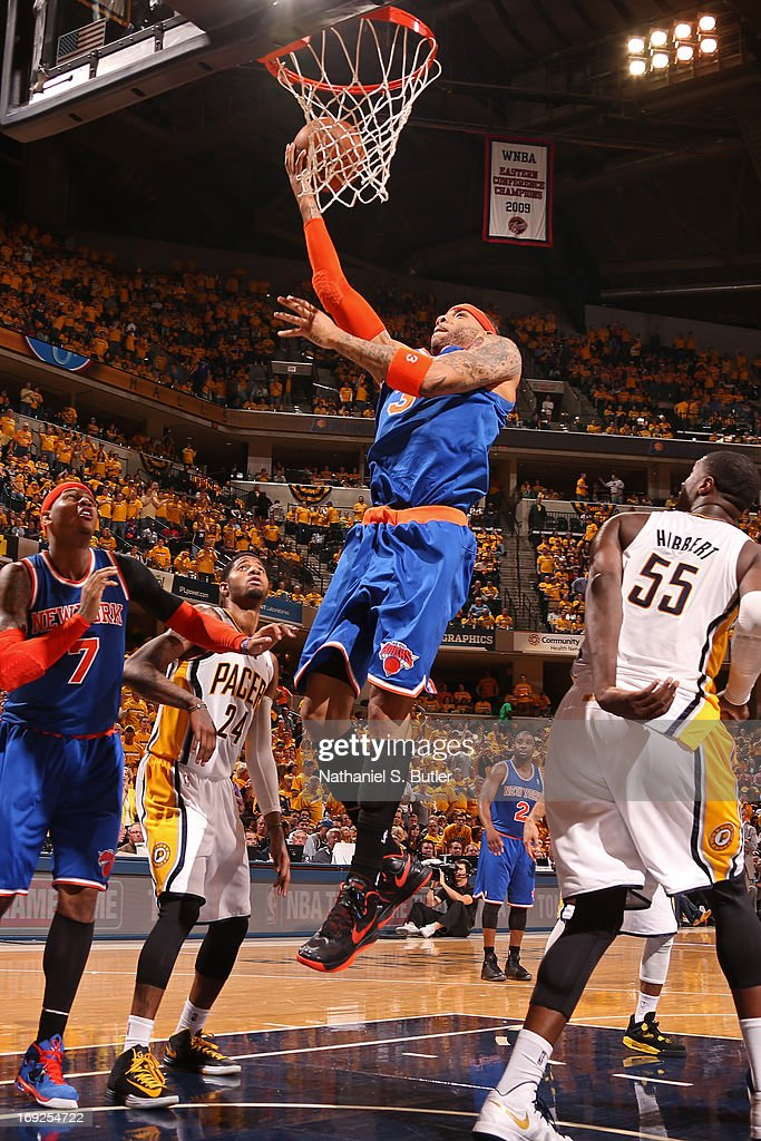 Kenyon Martin #3 of the New York Knicks drives to the basket against the Indiana Pacers in Game Three of the Eastern Conference Semifinals during the 2013 NBA Playoffs on May 11, 2013 at the Bankers Life Fieldhouse in Indianapolis.