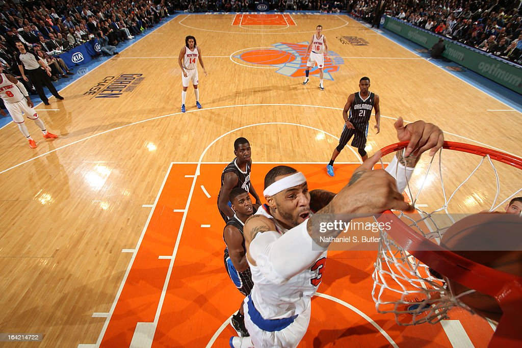 Kenyon Martin #3 of the New York Knicks dunks against the Orlando Magic on March 20, 2013 at Madison Square Garden in New York City.