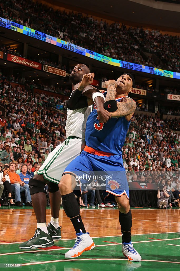 Kenyon Martin #3 of the New York Knicks fights for positioning against Kevin Garnett #5 of the Boston Celtics in Game Four of the Eastern Conference Quarterfinals during the 2013 NBA Playoffs on April 28, 2013 at the TD Garden in Boston.