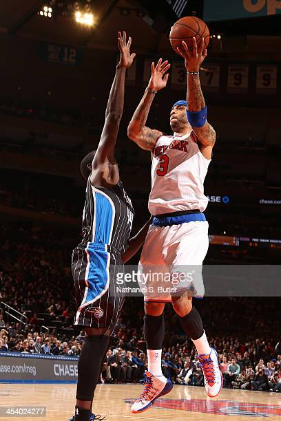 Kenyon Martin of the New York Knicks goes up to shoot during a game against the Orlando Magic at Madison Square Garden in New York City on December 6...