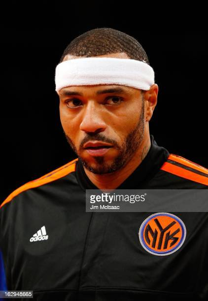 Kenyon Martin of the New York Knicks in action against the Golden State Warriors at Madison Square Garden on February 27 2013 in New York City The...