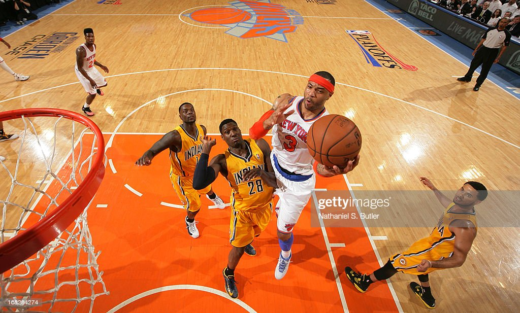 Kenyon Martin #3 of the New York Knicks shoots against Ian Mahinmi #28 of the Indiana Pacers in Game Two of the Eastern Conference Semifinals during the 2013 NBA Playoffs on May 7, 2013 at Madison Square Garden in New York City.