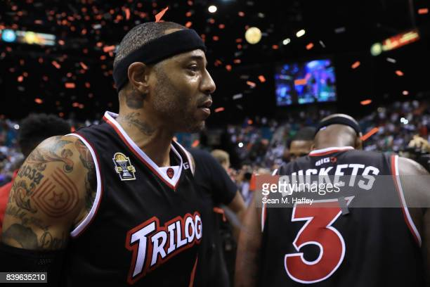 Kenyon Martin of Trilogy celebrates after winning the BIG3 three on three basketball league championship game against 3 Headed Monster on August 26...