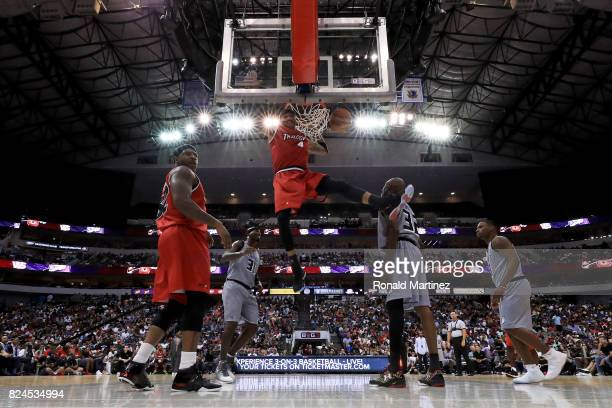 Kenyon Martin of Trilogy dunks the ball against the Ghost Ballers during week six of the BIG3 three on three basketball league at American Airlines...
