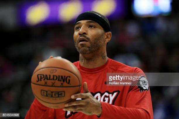 Kenyon Martin of Trilogy warms up before the game against the Ghost Ballers during week six of the BIG3 three on three basketball league at American...