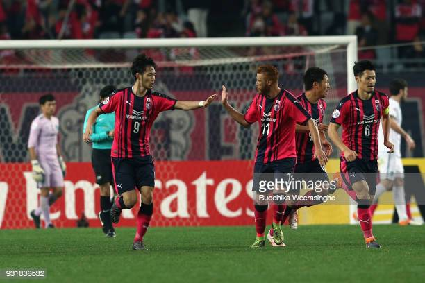 Kenyu Sugimoto of Cerezo Osaka celebrates scoring his side's second goal with his team mates during the AFC Champions League Group G game between...