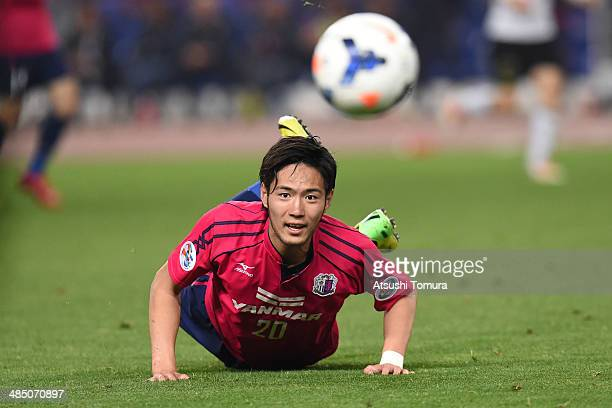 Kenyu Sugimoto of Cerezo Osaka in action during the AFC Champions League Group E match between Cerezo Osaka and Pohang Steelers at Nagai Stadium on...