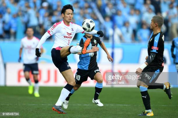 Kenyu Sugimoto of Cerezo Osaka in action during the Xerox Super Cup match between Kawasaki Frontale and Cerezo Osaka at the Saitama Stadium on...