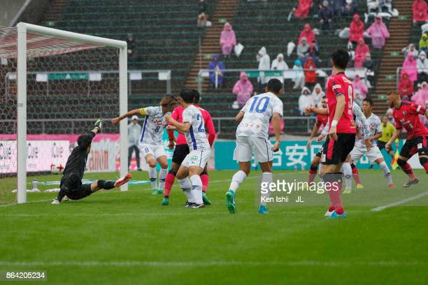 Kenyu Sugimoto of Cerezo Osaka scores the opening goal during the J.League J1 match between Cerezo Osaka and Ventforet Kofu at Kincho Stadium on...